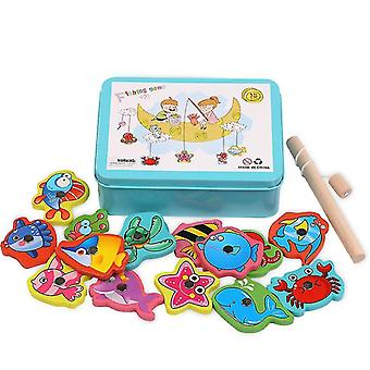 Wooden fishing toys, parent-child interactive early education toys(Blue)