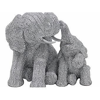 Hopeataide-elefantti vasikan istuessa kimalteleva bling-koriste
