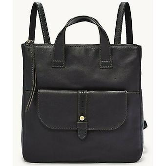 Fossil Hunter Black Leather Backpack Brass Hardware SHB2695001