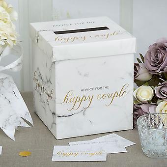 Skriptbasert marmor bryllup ønsker postkassen for kort bryllup råd