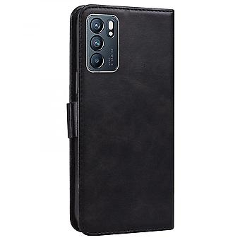Case For Oppo Reno 6 5g Wallet Flip Pu Leather Cover Card Holder Coque Etui - Black Cat