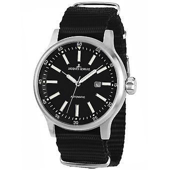 Jacques Lemans Textil Negro 1-1723D Reloj de Hombre