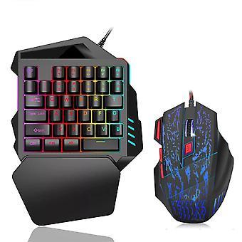 Mini tastatura pentru jocuri cu o singură mână mecanică Rgb LED Backlit USB cu fir 35 cheie cu mouse-ul
