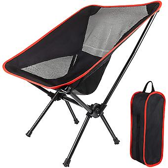 Tragbarer klappbarer Campingstuhl mit Wandertasche, geeignet zum Grillen, Picknick, Strand (rot)