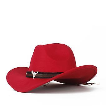 Wełniany zachodni kowbojski kapelusz Lady Outblack Sombrero Red
