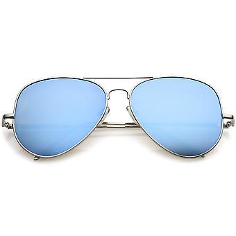 Pont de nez Classic Metal Aviator lunettes de soleil Double couleur miroir lentille plate 59mm