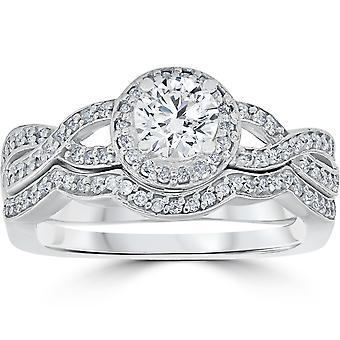 1 1/10ct Curve Engagement Ring & Matching Wedding Band 14K White Gold