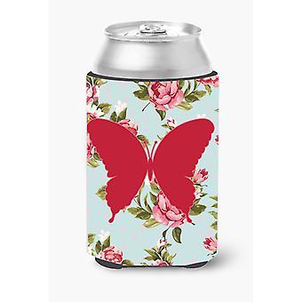 Butterfly Shabby Chic Blue Roses Can or Bottle Beverage Insulator Hugger BB1048