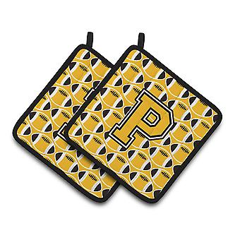 Letter P Football Black, Old Gold and White Pair of Pot Holders