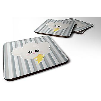 Set of 4 Weather Thuderstorm Face Foam Coasters Set of 4