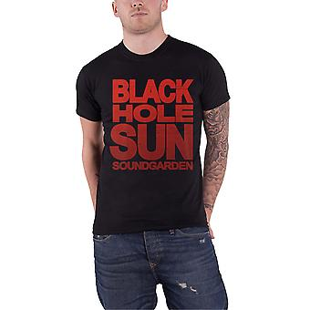 Soundgarden T Shirt Black Hole Sun Grunge Band Logo Official Mens New Black