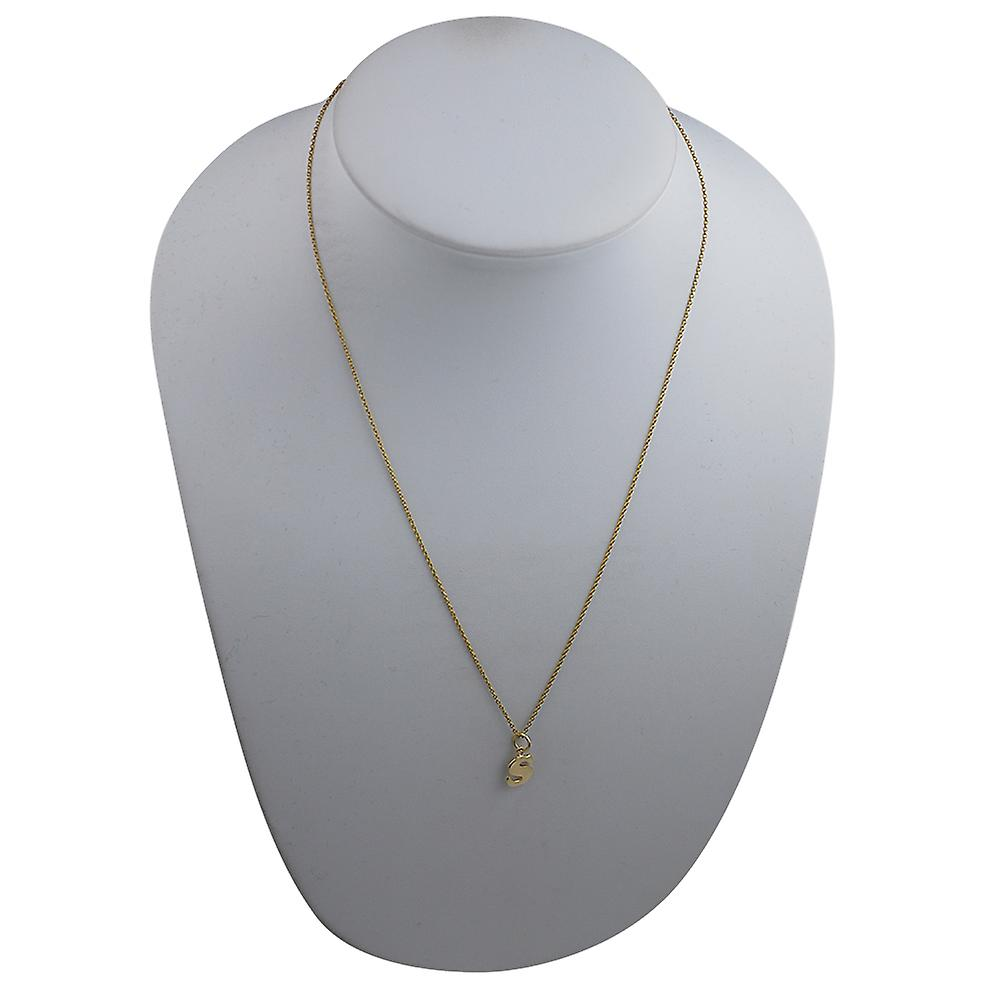 9ct Gold 11x9mm plain Initial S Pendant with a cable Chain 20 inches