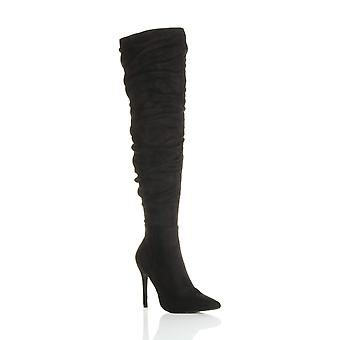 Ajvani womens high heel ruched slouch over the knee pointed thigh boots