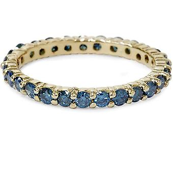 1 1 / 2ct ronde behandelde blauwe echte Diamond Eternity trouwring 14K Yellow Gold