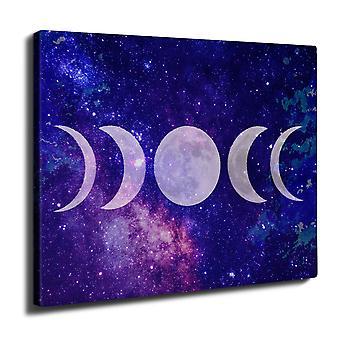 Moon Phases Wall Art Canvas 40cm x 30cm | Wellcoda