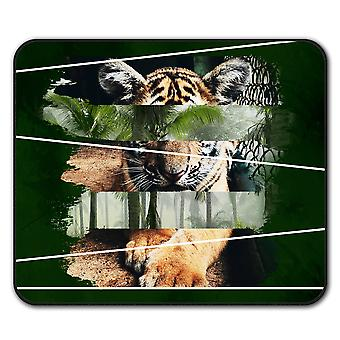 Tiger Cat Beast Animal  Non-Slip Mouse Mat Pad 24cm x 20cm | Wellcoda