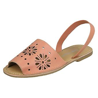 Ladies Leather Collection Flower Design Mules F00144 - Pink Leather - UK Size 4 - EU Size 37 - US Size 6