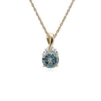 Gemondo 9 ct イエロー ゴールド ブルー トパーズ ・ ダイヤモンド キス ペンダント 45 cm チェーン丸