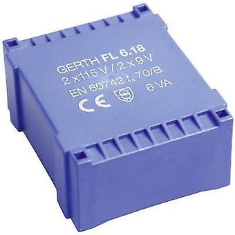 Gerth FL6.36 PCB mount transformator 2 x 115 V 2 x 18 V AC 6 VA 166 mA