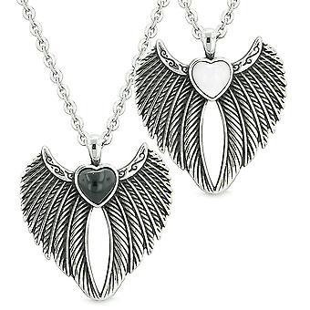 Engel vinger magiske hjerter kjærlighet par eller bestevenner simulert Onyx simulert katter øye halskjeder