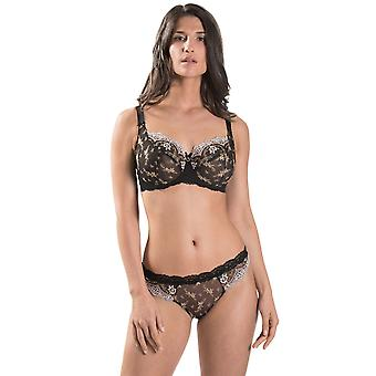 Aubade HC13-ORNR Women's Belle d'Ispahan Black Embroidered Underwired Plus Size D+ Comfort Full Cup Bra