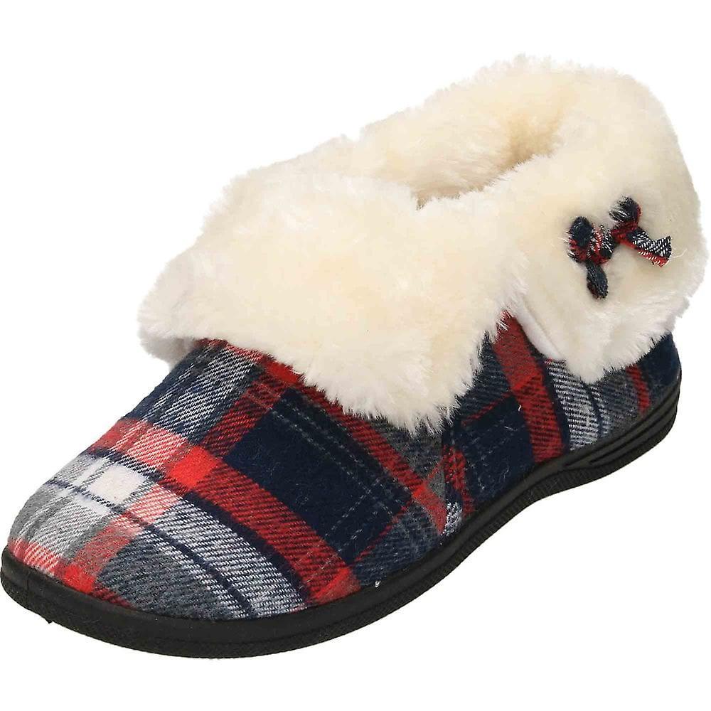 Cushion-Walk Tartan Plush Ankle Bootee Slipper House Shoe