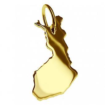 Släpvagn karta hängsmycken i guld gul-guld i form av Finland