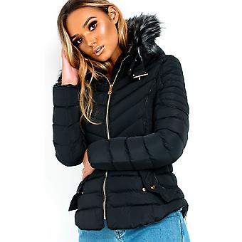 IKRUSH Womens Harley Padded Faux Fur Hood Jacket
