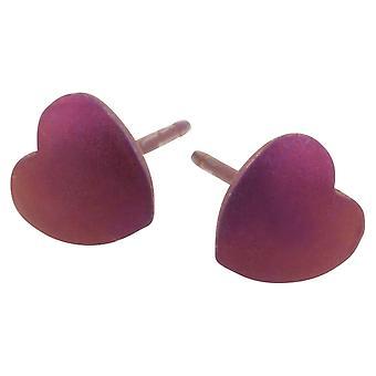 Ti2 Titanium Geometric Heart Stud Earrings - Coffee Brown