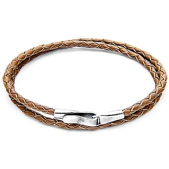 Anchor and Crew Liverpool Silver and Leather Bracelet - Light Brown