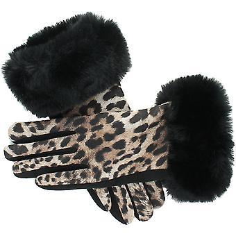 Evvor dame Animal Print kunstskind manchet mode handsker