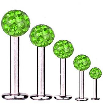 Bar di Labret trago Piercing titanio 1.2 mm, Multi sfera di cristallo verde | 5 - 12 mm