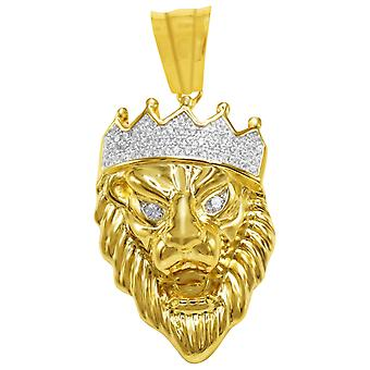 925 sterling silver micro pave pendants - KING LION gold