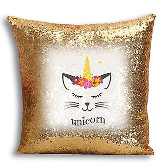 i-Tronixs - Unicorn Printed Design Gold Sequin Cushion / Pillow Cover with Inserted Pillow for Home Decor - 2