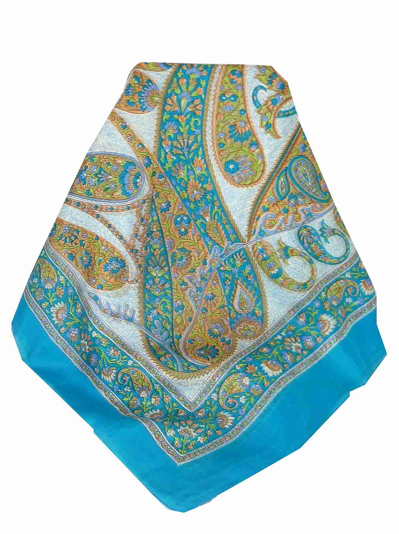 Mulberry Silk Traditional Square Scarf Hindon Aquamarine by Pashmina & Silk