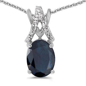 LXR 14k Vit Guld Oval Safir och Diamant hänge 1.18ct