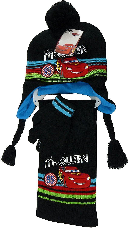 Boys Disney Cars Lightning McQueen 3 Pieces set Winter Hat, Scarf & Gloves