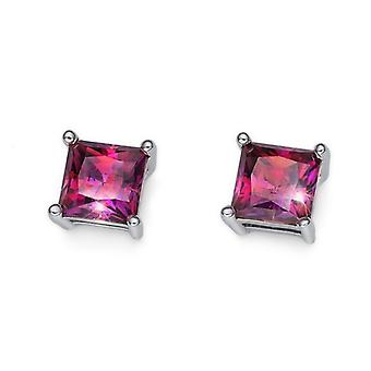 Earring Catch 925AG RH CZ red dark