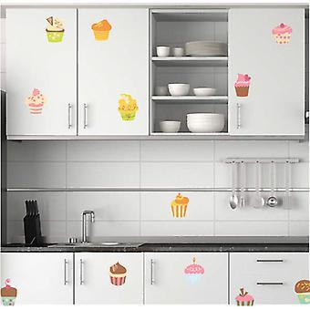 Full-Colour-Satz von 12 Tasse Kuchen Wandsticker