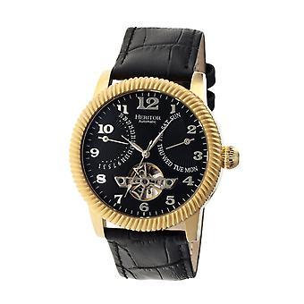 Heritor s Piccard automático reloj de correa de cuero semi-esqueleto - oro/negro