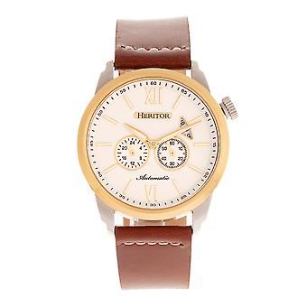 Heritor Automatic Wellington Leather-Band Watch - Brown/Gold/White