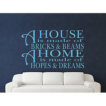 A House Is Made Of Bricks And Beams v2 Wall Art Sticker - Arctic Blue