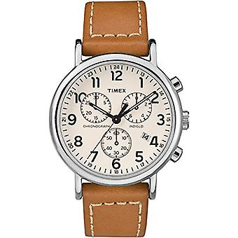 Quarz Chronograph Watch Timex Unisex Erwachsene mit einem Lederband TW2R42700