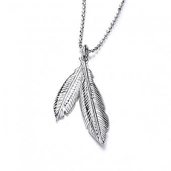 Cavendish French Silver Double Feather Spirit Pendant with Silver Chain