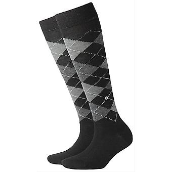Burlington Marylebone Knee High Socks - Black/Grey