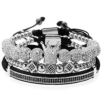 Bracelet-Strastine en noir et blanc, Argent