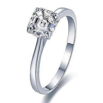 925 Sterling Silber brillante Asscher geschnitten Solitär Verlobungsring