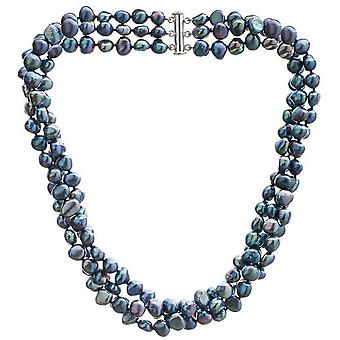Pearls of the Orient Triple Strand Cultured Freshwater Pearl Necklace - Black