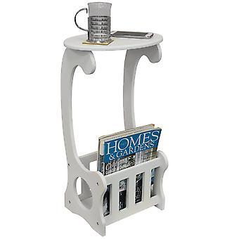 Boční/koncový/noční stolek s časopisem/knižní úložný stojan-bílý