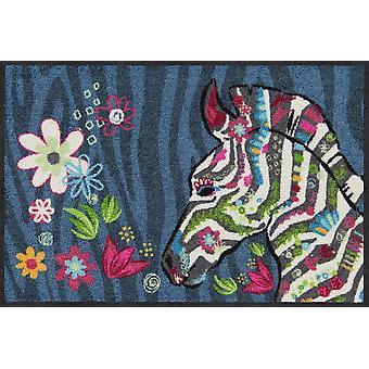 Salonloewe kynnys matto hippi seepra-sininen 50 x 75 cm pestävä lika matto